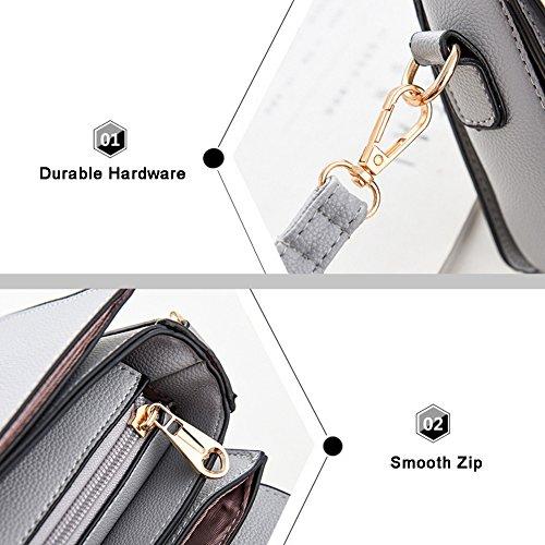 Yoome Contrast Colour Flap Bag Manico Arcuato Womens Messenger Bag Crossbody Cinturino Borse Per Ragazze - Bianco L.Pink