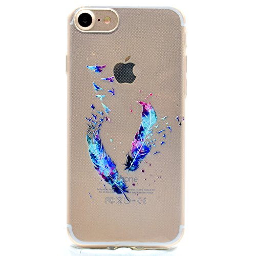iPhone 7 Hülle,SainCat iPhone 7 Silikon Hülle Tasche Handyhülle Kirsche Muster [Gelbes Gänseblümchen] Schutzhülle Transparent TPU Gel Case Bumper Weiche Crystal Kirstall Clear Silikonhülle Durchsichti Blaue Feder