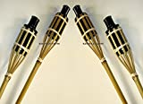 Partylichter Bambusfackeln 120cm lang 4er-Set Gartenfackeln Ölfackeln mit Docht