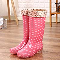 lonfenner Rain Boots,Fashion Polka Dot Comfortable Waterproof Non-Slip Easy To Clean Ladies Pink Warm Middle Tube Rain Boots