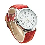 Xinantime Reloje Hombre Mujer,Xinan Correa Cuero Cuarzo Reloj de Pulsera Deportes Analógicas (Rojo)