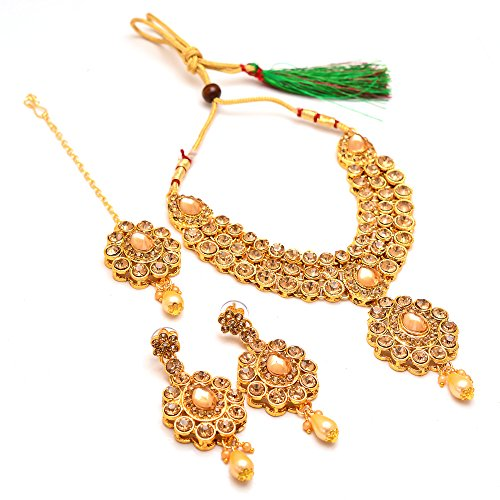 Jewar MandiNecklace golden stone Kundan Bridal Necklace with teeka Set puwai handmade...