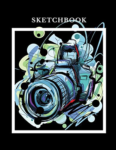 Sketchbook: A Professional Photo Camera Themed Personalized Artist Sketch Book Notebook and Blank Paper For Drawing, Painting Creative Doodling or Sketching. -