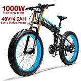 LANKELEISI 750PLUS 48V14.5AH 1000W Motore Bicicletta elettrica Full-Optional 26''4.0 Pneumatico Ebike Bici 27 velocità Adulto Femmina/Maschio (Nero Rosso Blu)