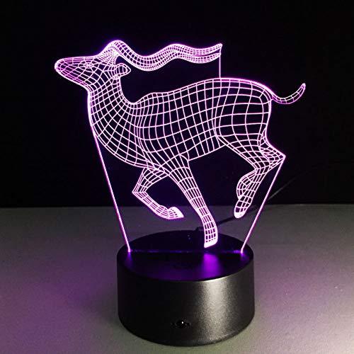 f Gesicht 3D Lampe USB Libelle Erstaunliche Visualisierung Optische Illusion LED Hippo Wohnkultur Kinder Beste Geschenk Deer Eine Größe ()