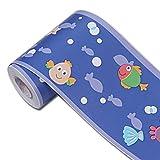 yenhome Ocean Blau Wasserdicht PVC Selbstklebende Tapete Grenze Aufkleber Abziehen und Aufkleben Scroll Wand Bordüre Aufkleber Home Decor 10cm X 32,8Feet