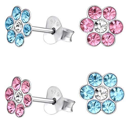 Kristall Blume Ohrstecker 925 Echt Silber Ohrringe Kinder Mädchen Geschenkidee (1) 2 Paar Blau + Rosa) (Gold Baby-mädchen Charms)