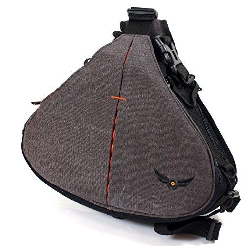 Firmcam Gleann Bag Sling - Kameratasche, Fototasche für DSLR mit Objektiv und zwei Extra-Objektiven plus viel Zubehör, Bridgekameras, incl. Regencover, Handgepäckstück, Retro