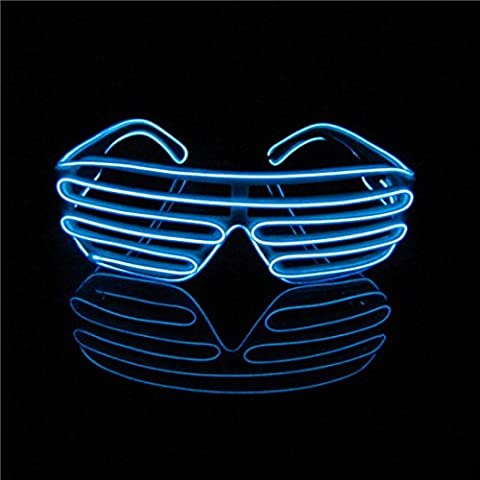 Lerway Neon El Wire LED Light Up Shutter Luminous Funny Glasses Eyeglasses Sunglasses Eyemask + Voice Controller, for Clubbing, Raves,Night time Show & Concert (Black Frame +