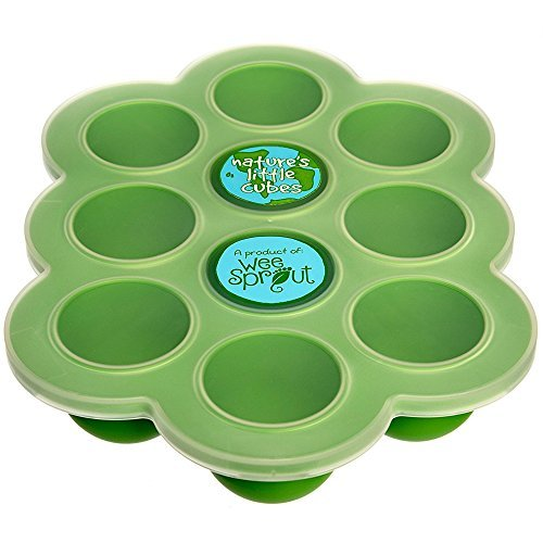 Silicone Baby Food Freezer Tray with Clip-on Lid by WeeSprout - Perfect Storage Container for Homemade Baby Food, Vegetable & Fruit Purees and Breast Milk - BPA Free & FDA Approved -Lifetime Guarantee