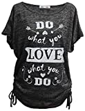 Emma & Giovanni - Sommer T-Shirt/Oberteile Kurzarm - Damen (Schwarz, DE 44/46 (Herstellergröße XL))