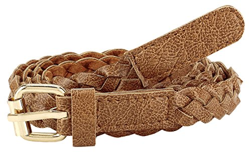 Jainsons Women Braided Hand Made Casual PU Leather Belt, Brown, 34
