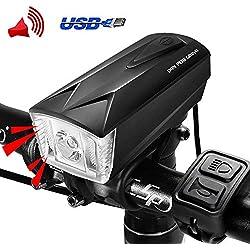 DONPEREGRINO LED Luz Bicicleta Delantera USB Recargable | Faro & E-Timbre Bici 2 en 1 para Seguridad de Ciclismo