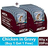 Meat Up Chicken Gravy Supplement, Skin+Coat- 80g, Pack of 10 (Buy 1 Get 1 Free)