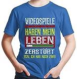 HARIZ  Jungen T-Shirt Videospiele 2 Leben Gamer Gaming Fun Retro Nerd E-Sport Plus Geschenkkarte Royal Blau 98/2-3 Jahre