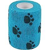 2-TECH 7,5cm x 450cm blauer Pfotendruck Hundeverband selbsthaftende Bandage Haftbandage Pfoten Verband