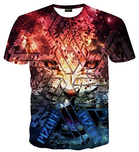 Schmale Passform T Shirts mit Karikatur Katze 3D Druckmuster Leopard AL067-32-XXL (Leopard Print Anzug)