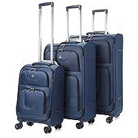 Aerolite 8 Wheel Spinner Lightweight Suitcase Luggage, 75 cm, 105 Litre, Navy, Set of 3