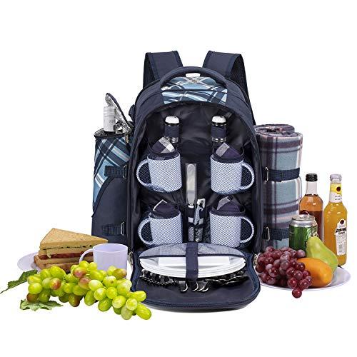 apollo walker Picknickrucksack für 4 Personen mit Fleece-Decke und Kühlfach