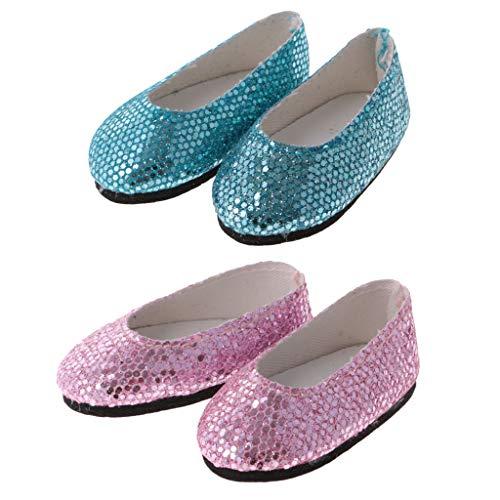 macht Mini Bling Bling Pailletten Ballerinaschuh für 14 Zoll weibliche Puppen ( Pink+Blau ) ()