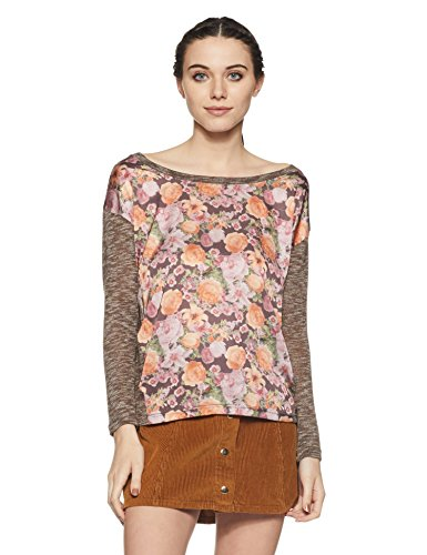 Jealous 21 Women's Abstract T-Shirt (1JW10842_Brown_Large)