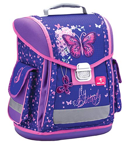 Belmil Ergonomischer Schulranzen Groß Mädchen Grundschule 1, 2, 3 Klasse Schmetterling Butterfly Lila Purple Glitter (404-5 Fly Like a Butterfly)