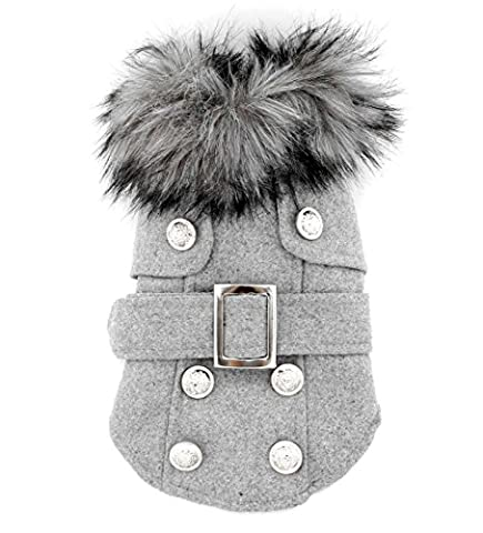 Pet Cat Dog Clothes European Woolen Fur Collar Coat Small Dog Cat Pet Clothes Costume Light Grey M by smalllee_lucky_store