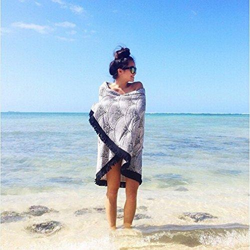 Smile YKK 150*150cm Sommer Strand Bikini Deckung Umhang Badetuch Matte Strand Pool Duschtuch Decke Tischdecke Yoga-Matte Handtuch Wandteppich Pareos Schwarzweiß # B