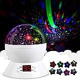 Stern-Himmel-Nachtlampe, Babylichter 360 Grad Romantik Zimmer Rotating Cosmos-Stern-Projektor mit LED-Timer Auto-Shut Off, USB-Kabel for Kid Schlafzimmer, Weihnachtsgeschenk (Color : White)