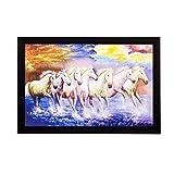 #5: eCraftIndia Lucky White Running Horses Matt Textured Framed Synthetic Wood UV Art Painting (50.8 cm x 1.3 cm x 35.6 cm)