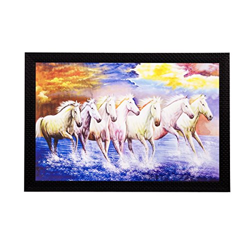 eCraftIndia Lucky White Running Horses Matt Textured Framed UV Art Painting