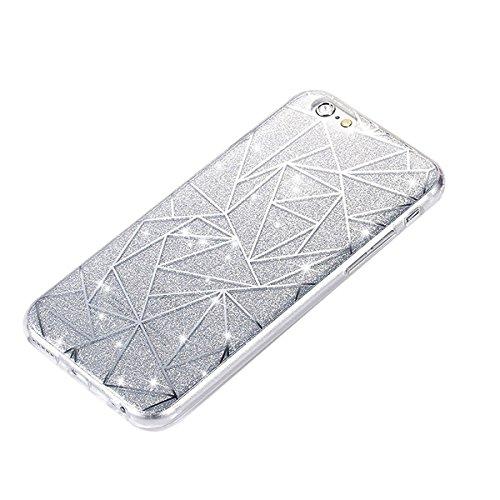 Custodia per iPhone 6/iPhone 6s (4.7), EUWLY iPhone 6/iPhone 6s (4.7) Trasparente Silicone Cover, EUWLY Brillantini Glitter Diamante TPU Case Caso Belle Fiore Cristalli Chiaro Crystal Clear Morbida Rombi, Argento