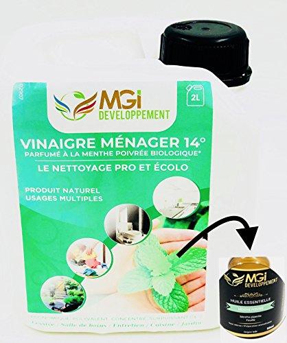 MGI DEVELOPPEMENT 2L vinagre Blanco con 14° aceites Esenciales de Menta-para un Limpieza eficaz y écolo-Calidad Profesional-polivalente: nettoie, Dégraisse, Détartre y Parfume (2litros)