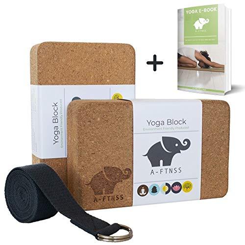 A-FTNSS Yoga Block Cork Naturale con Yoga Strap Set per Yoga e Pilates per Principianti e avanzati Antiscivolo Stabile Leggero (2 Blocco 1 Cintura)