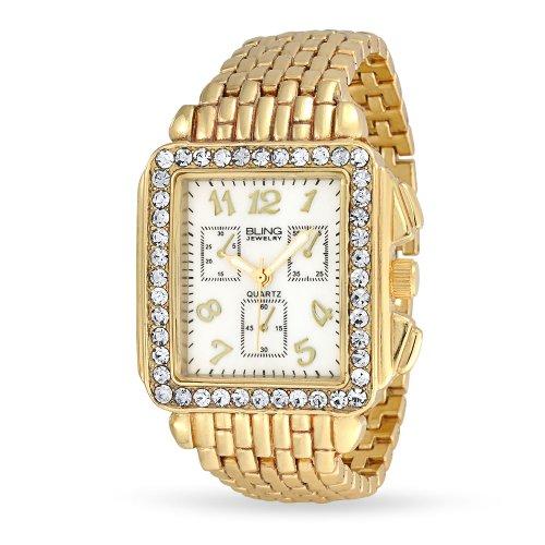 Bling Jewelry Bling banda de metal chapado en oro de joyería de cristal estilo Art Deco reloj cronógrafo.