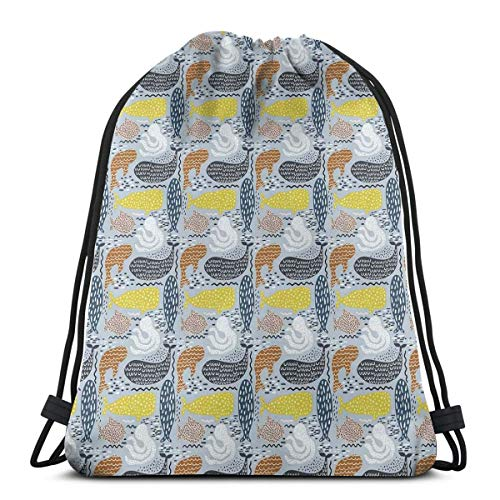 Juziwen Printed Drawstring Backpacks Bags,Whale Dolphin Big Fish Mammal Silhouettes Ocean Subaquatic Life Kids Nursery Theme,Adjustable String Closure -