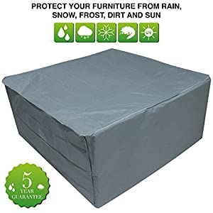 Oxbridge Grey Medium Patio Set/Oval/Rectangle Table Cover Garden Outdoor Furniture Cover 2.1m x 1.93m x 0.97m/6.8ft x 6.3ft x 3.2ft 5 YEAR GUARANTEE