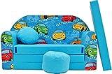 Minisofa Kindersofa Kindercouch Schlafsofa Sofabett Mini Couch mit Kissen und Sitzkissen BLAU AUTOS