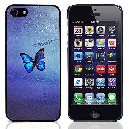 Graphic4You Blue Butterfly And Flowers Design Harte Hülle Case Tasche Schutzhülle für Apple iPhone 5 und 5S Design #11