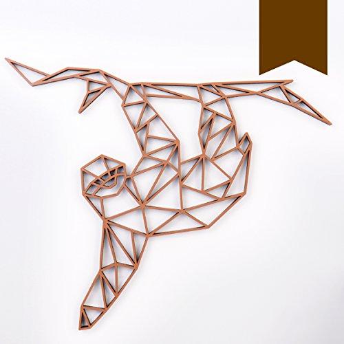 KLEINLAUT 3D-Origamis aus Holz - Wähle EIN Motiv & Farbe - Faultier - 100 x 84 cm (XXL) - Braun -