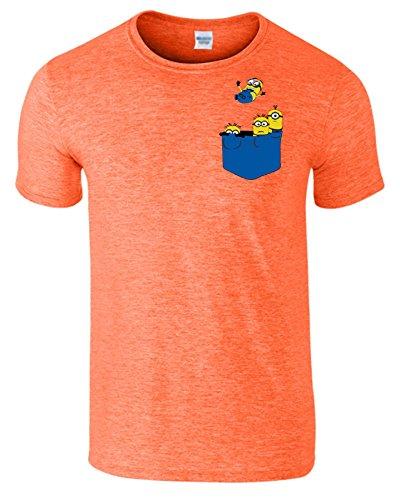 Pocket Minions Figuren Herren T-Shirt Komisch Günstling Tshirt Heather Orange