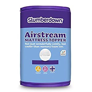 Slumberdown Airstream Topper with Memory Foam, White, Single