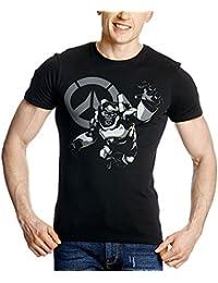 Overwatch Men T-Shirt Humanitys Champion Winston Cotton Black