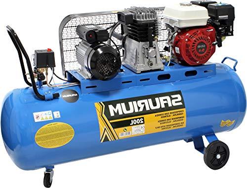 Compresor de Aire - Con Correas 2 en1- Eléctrico + Gasolina - 200L 5.5/3HP