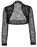 Womens Black Lace Bolero Jacket with Long Sleeve Wedding Accessories BP49-1 S