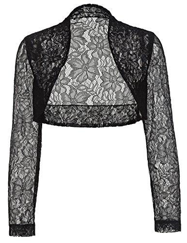 Damen Schwarze Spitze Shrug Bolero, geerntete Jacke kurze Strickjacke BP49-1 M (3/4 Strickjacke Sleeve Schwarz In)