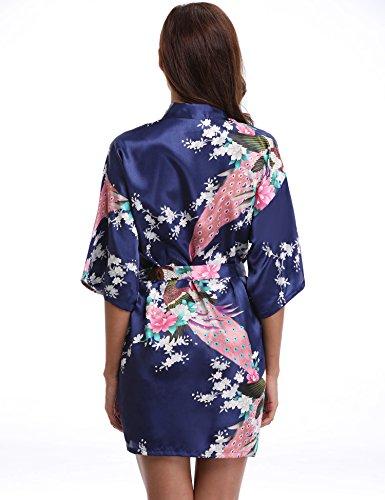 Aibrou Donna Vestaglie Scollo a V Kimono Corto da Notte in Raso Con Cintura, Pavone Esotici , Raso Fiore. Pigiama, Camicia da notte, Toga. Dark Blue