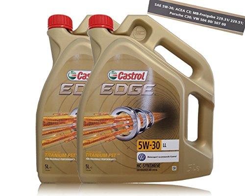 Lot de 2 bidons d'huile moteur 2 x 5litres = 10 LITRES CASTROL EDGE TITANIUM FSTTM 5W-30 LL