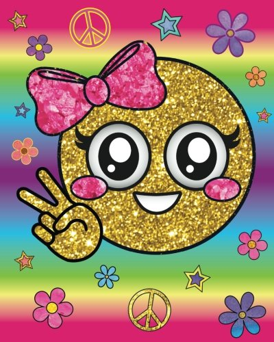 Cute Peace Girl Rainbow Emoji Diary: Hippie Flower Pink Bow Emoji Diary Journal with 160 Lined Pages, 8x10 inch Blank Notebook with Rainbow Design Softcover for Girls, Boys, Kids & Adults (Cute Hippie Girl)
