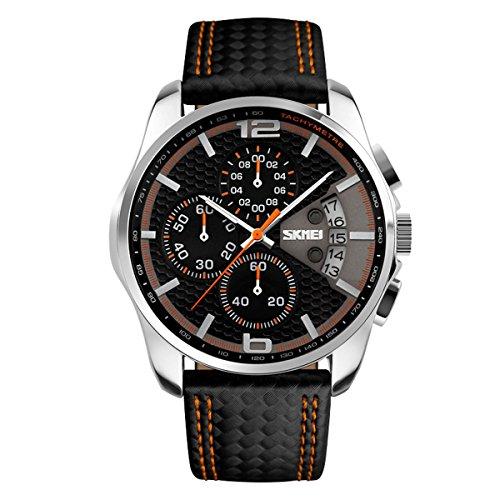 Herrenuhren Chronograph Multifunktional Stoppuhr Kalender Analog Armbanduhren für Herren Polyurethan Leder Sport, Orange